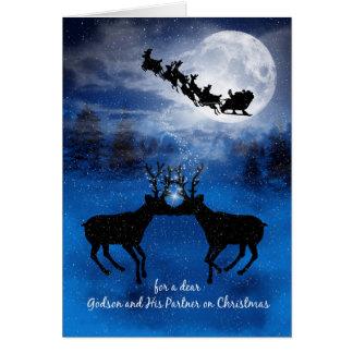 Godson and His Partner Kissing Reindeer Christmas Card