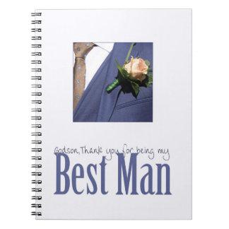 Godson    best man thank you notebooks