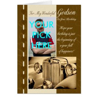 Godson Birthday Card Vintage Car - Photo card