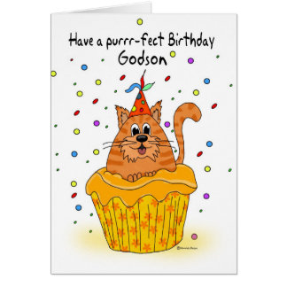 godson birthday card with ginger cupcake cat