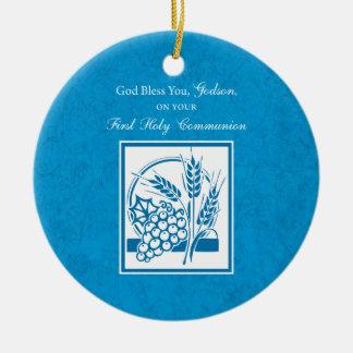 Godson First Communion, Wheat, Grapes Blue Ceramic Ornament