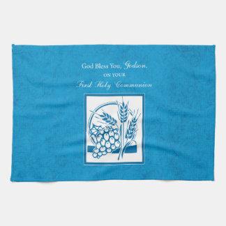 Godson First Communion, Wheat, Grapes Blue Kitchen Towel