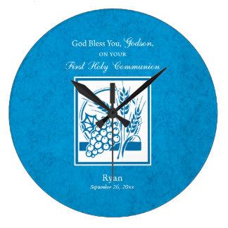 Godson First Communion, Wheat, Grapes Blue Large Clock