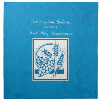Godson First Communion, Wheat, Grapes Blue Napkin