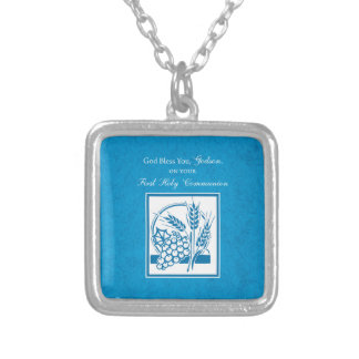 Godson First Communion, Wheat, Grapes Blue Silver Plated Necklace