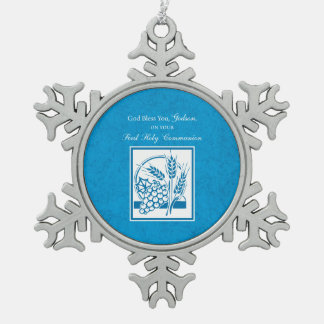 Godson First Communion, Wheat, Grapes Blue Snowflake Pewter Christmas Ornament