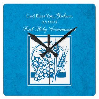 Godson First Communion, Wheat, Grapes Blue Square Wall Clock