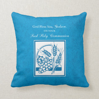 Godson First Communion, Wheat, Grapes Blue Throw Pillow