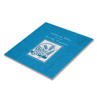 Godson First Communion, Wheat, Grapes Blue Tile