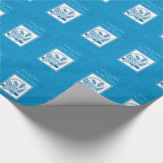 Godson First Communion, Wheat, Grapes Blue Wrapping Paper