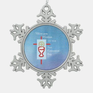 Godson, First Holy Communion, Blue Pewter Snowflake Ornament