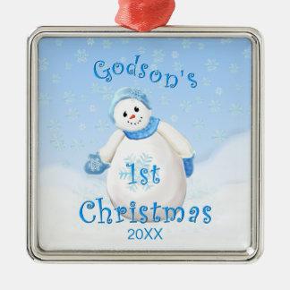 Godson s 1st Christmas Snowman Ornament