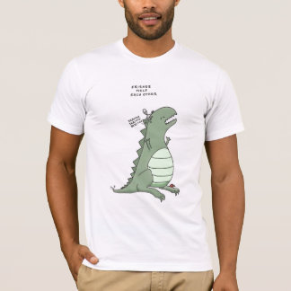 godzilla and an alien: friends help each other T-Shirt