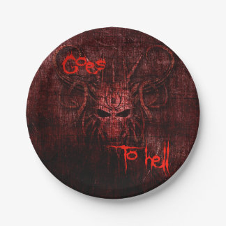 goes to hell 7 inch paper plate