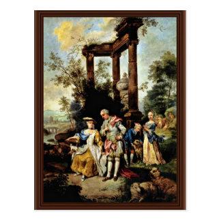 Goethe'S Family In Shepherd'S Dress By Seekatz Joh Postcard