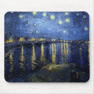 Gogh and Starry night over the Rhone Mouse Pad