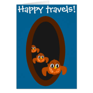 Going away card HAPPY TRAVELS blue
