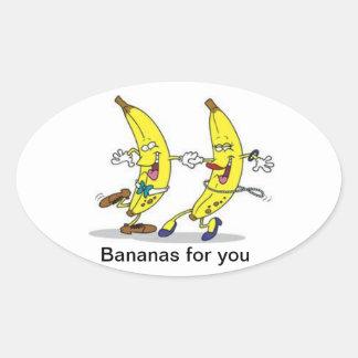 Going bananas oval sticker