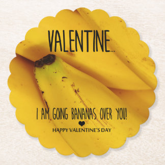 Going bananas over you Valentine's Day Paper Coaster