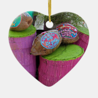 Going Coconuts Ceramic Heart Ornament