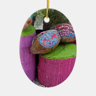 Going Coconuts Ceramic Oval Ornament