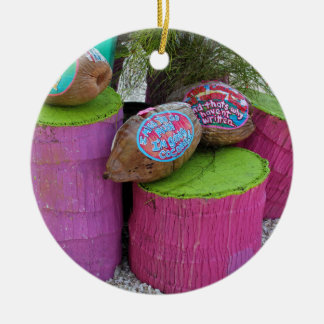 Going Coconuts Round Ceramic Ornament