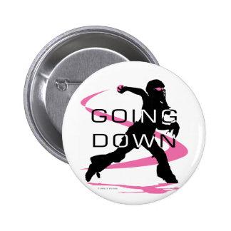 Going Down Pink Catcher Softball Button