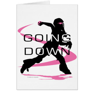 Going Down Pink Catcher Softball Greeting Card