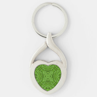 Going Green  Metal Keychains, 4 shapes Silver-Colored Twisted Heart Keychain