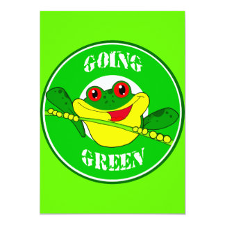 GOING GREEN TREE FROG HAPPY CARTOON CAUSES ENVIRON PERSONALIZED INVITE