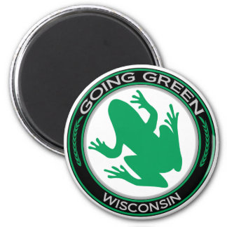 Going Green Wisconsin Frog 2 Inch Round Magnet