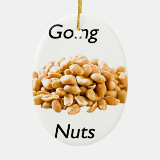 Going nuts ceramic oval ornament
