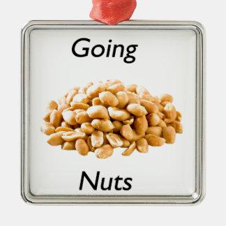 Going nuts Silver-Colored square ornament