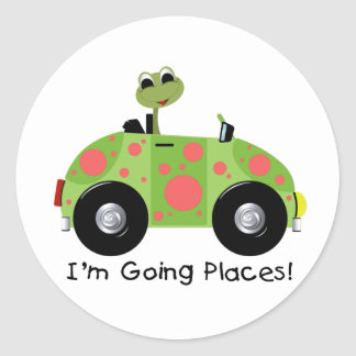 GOING PLACES FROG CLASSIC ROUND STICKER