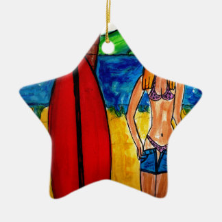 Going Surfing Ceramic Star Ornament