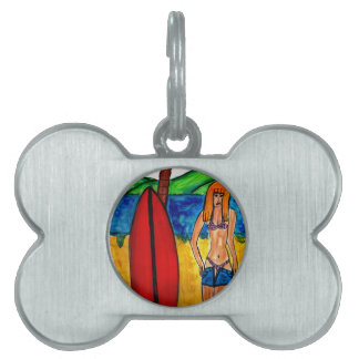 Going Surfing Pet Name Tag