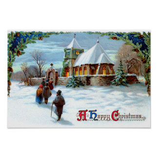 Going To Church Evergreen Christmas Tree Poster