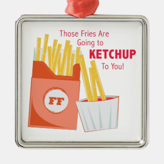 Going To Ketchup Silver-Colored Square Ornament