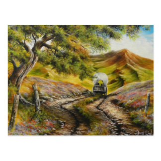 Going to town Painitng by David Paul Postcard