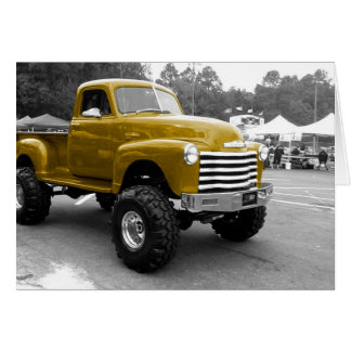 Gold 1950s Hot Rod Truck Greeting Card