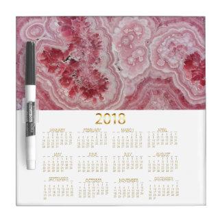 Gold 2018 calendar pink crystal agate geode chic dry erase board