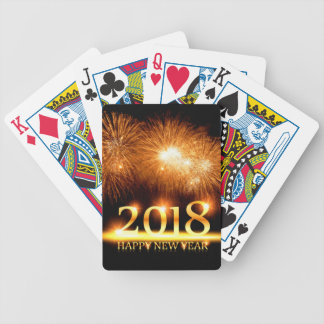 Gold 2018 Happy New Year Fireworks Bicycle Playing Cards