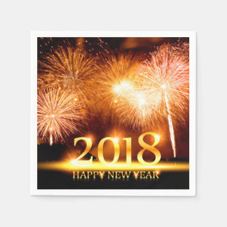 Gold 2018 Happy New Year Fireworks Disposable Napkin