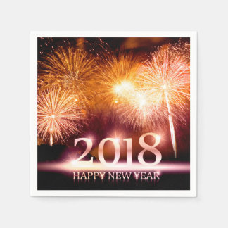 Gold 2018 Happy New Year Fireworks Disposable Napkins