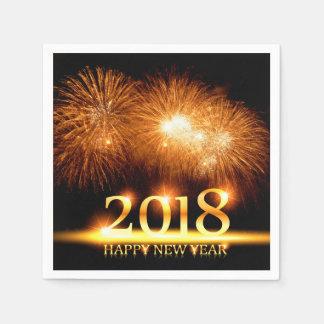 Gold 2018 Happy New Year Fireworks Napkin