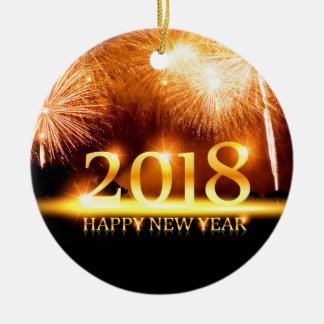 Gold 2018 Happy New Year Fireworks ornament