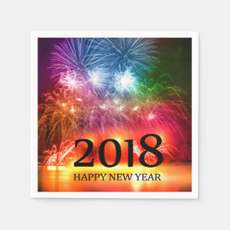 Gold 2018 Happy New Year Fireworks Paper Napkin