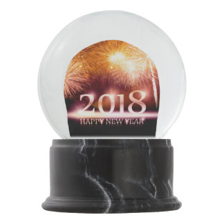 Gold 2018 Happy New Year Fireworks snowglobe gift