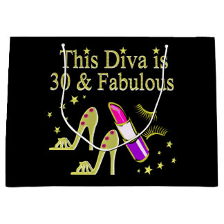GOLD 30 AND FABULOUS 30TH BIRTHDAY DESIGN LARGE GIFT BAG