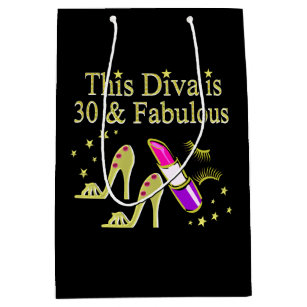 GOLD 30 AND FABULOUS 30TH BIRTHDAY DESIGN MEDIUM GIFT BAG